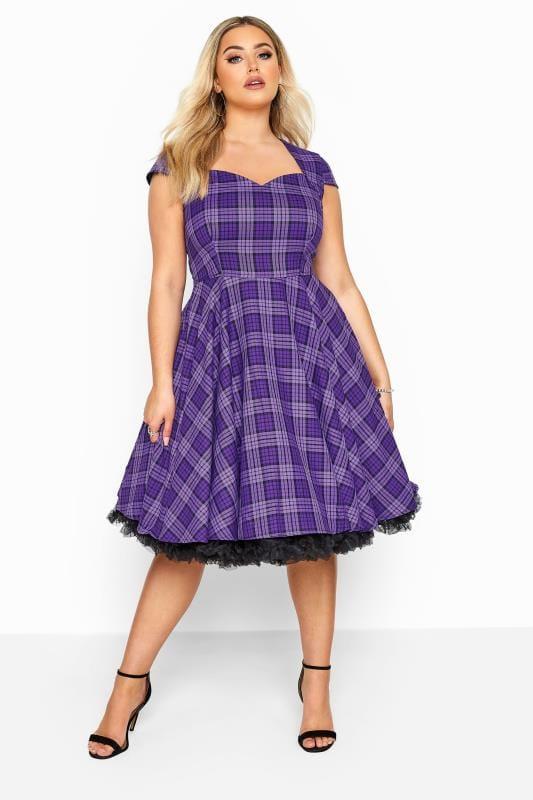 HELL BUNNY Purple 'Kennedy' Check Skater Dress