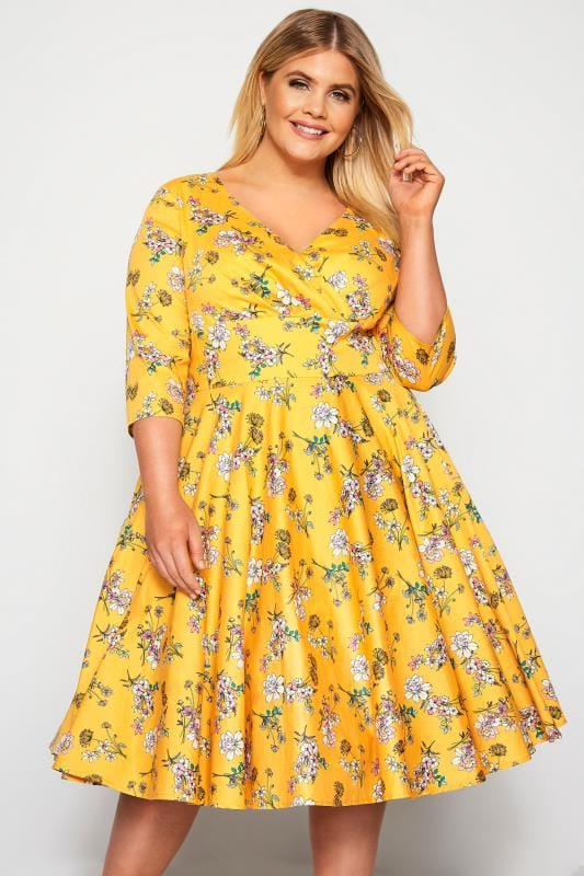 Plus Size Skater Dresses HELL BUNNY Yellow Floral Muriel Dress