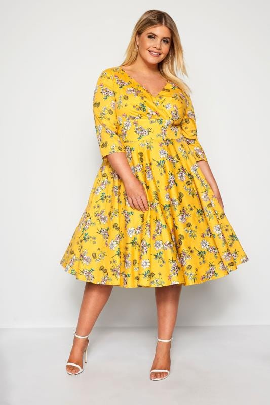 HELL BUNNY Yellow Floral Muriel Dress