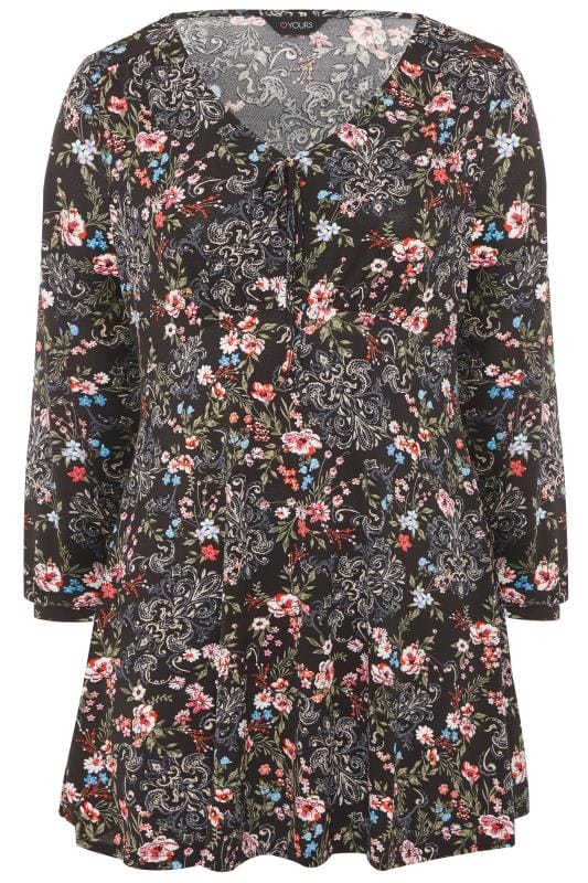 Black Floral Paisley Print Tunic