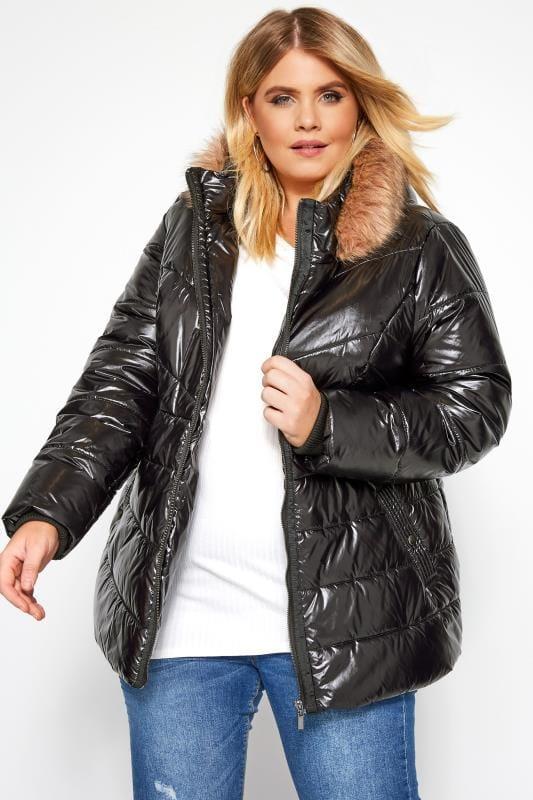 jacks Zwarte hoogglanzende gewatteerde jas met capuchon