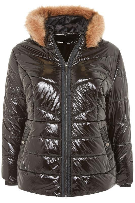 Zwarte hoogglanzende gewatteerde jas met capuchon