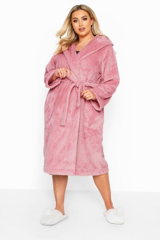 Plus Size Dressing Gowns Pink Waffle Dressing Gown