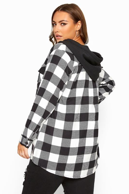 Black Check Brushed Hooded Shirt