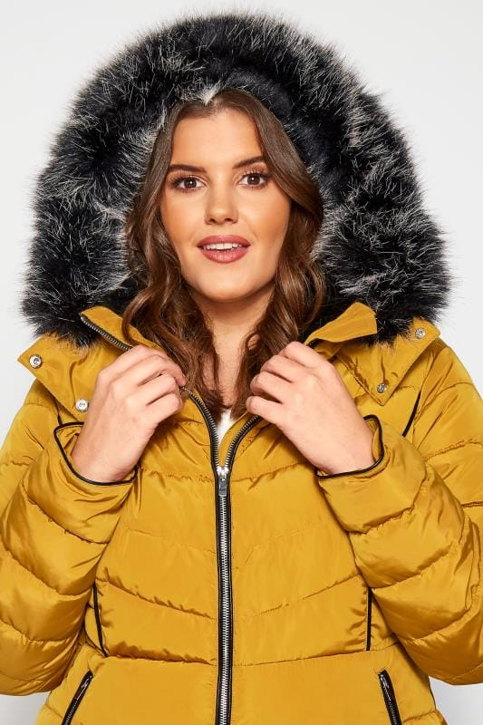 Mustard Hooded Panel Puffer Coat