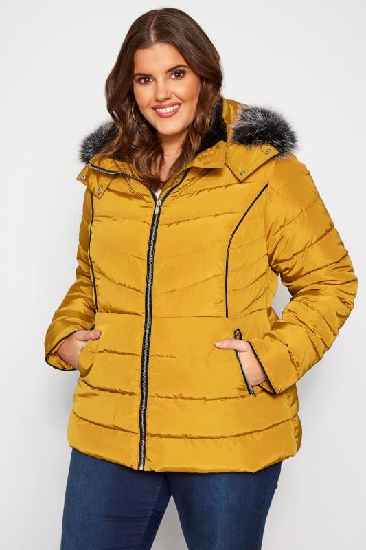 Plus Size Puffer & Quilted Jackets Mustard Hooded Panel Puffer Coat
