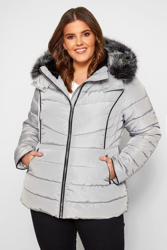 Plus Size Puffer & Quilted Jackets Light Grey Hooded Panel Puffer Coat