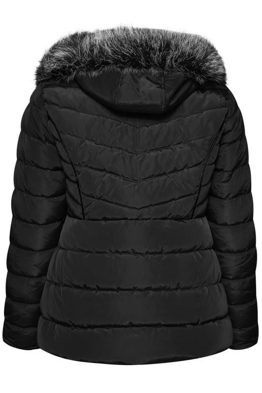 Black Hooded Panel Puffer Coat