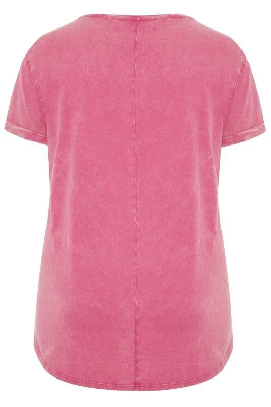 Pink Acid Wash Stud Heart T-Shirt