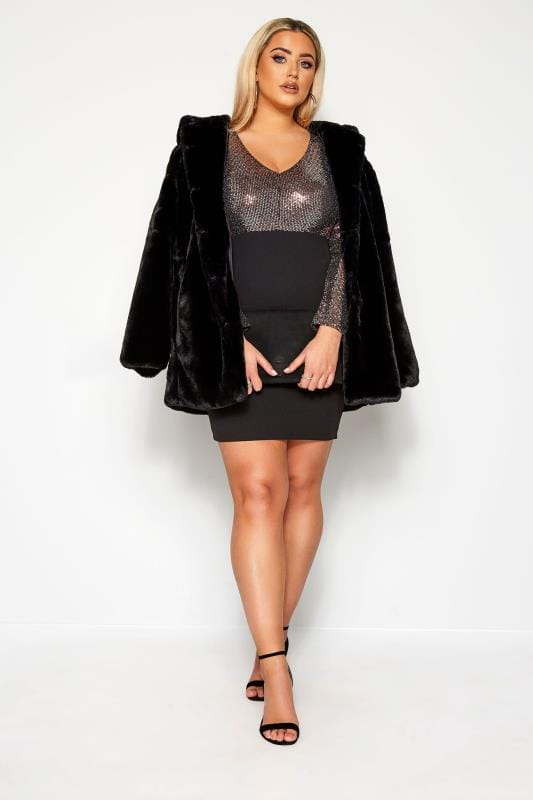 Plus Size Going Out Dresses LIMITED COLLECTION Black & Bronze Sequin Bodycon Dress