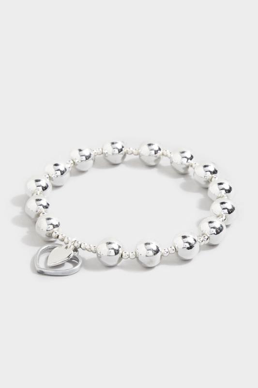 Silver Beaded Heart Charm Bracelet
