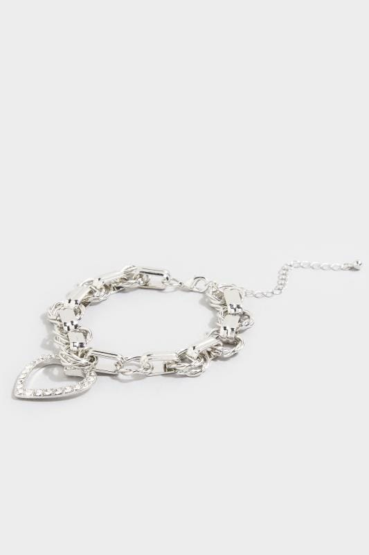 Corsage Grande Taille Silver Heart Charm Chain Bracelet