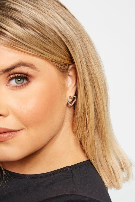 Großen Größen Earrings Gold Diamante Heart Stud Earrings