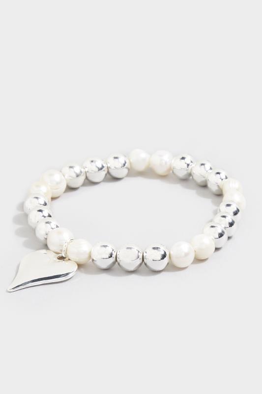 Silver Pearl Heart Charm Bracelet