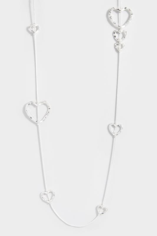 Silver Heart Long Necklace