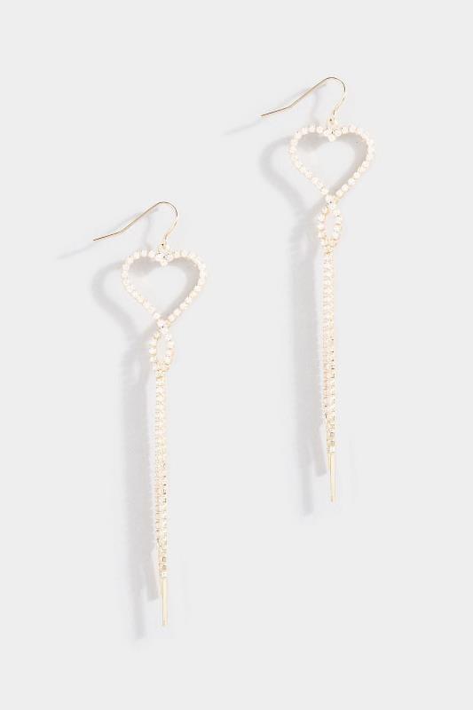 Gold Diamante Heart Tassel Earrings