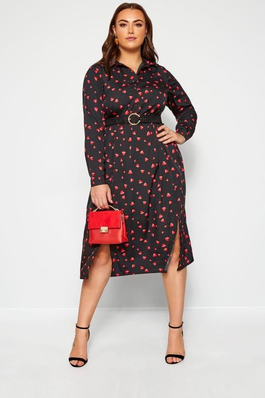 Plus Size Black Dresses Black Heart Print Shirt Dress