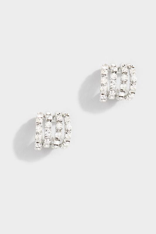 Plus Size Jewellery Silver Diamante Multi Hoop Earrings