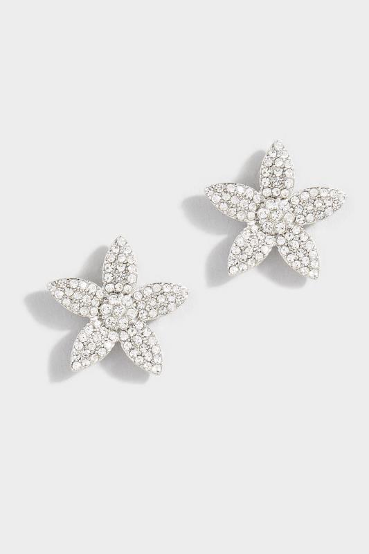 Plus Size Jewellery Silver Diamante Flower Earrings
