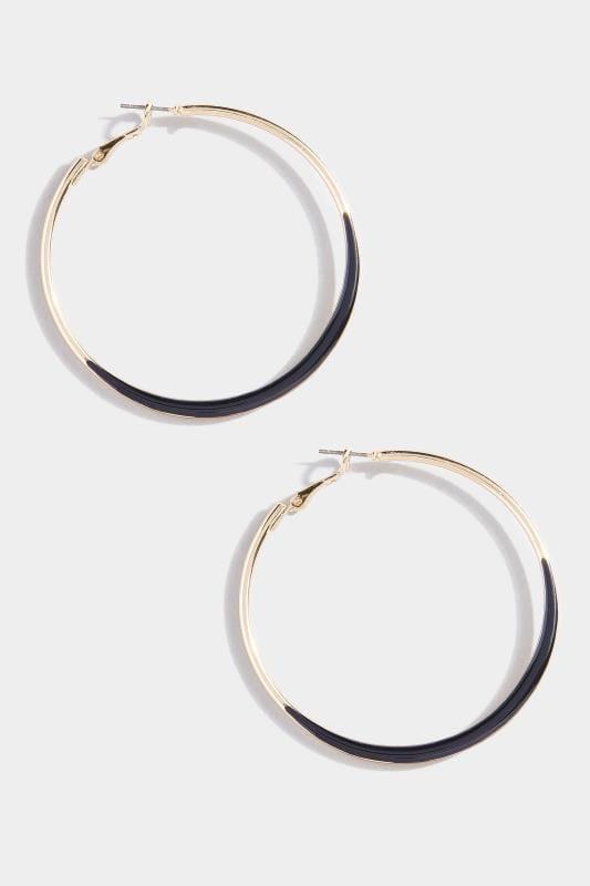 Gold & Black Hoop Earrings