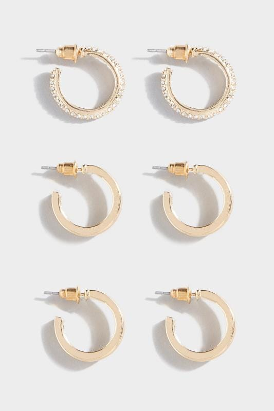 3 PACK Gold Hoop Earrings