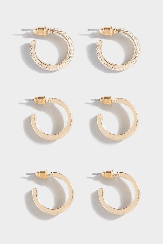 3 PACK Gold Hoop Earrings