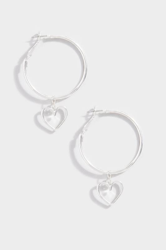 Silver Heart Drop Hoop Earrings