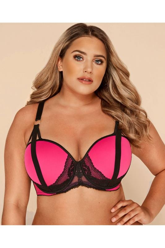 Plus Size Balconette & Push Up Bras Hot Pink Lace Strap Bra