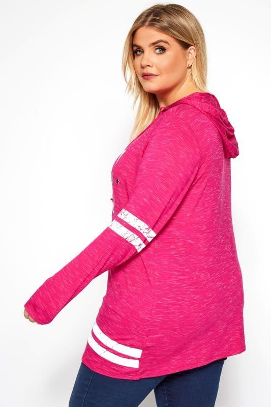 Hot Pink Varsity Slogan Hoodie