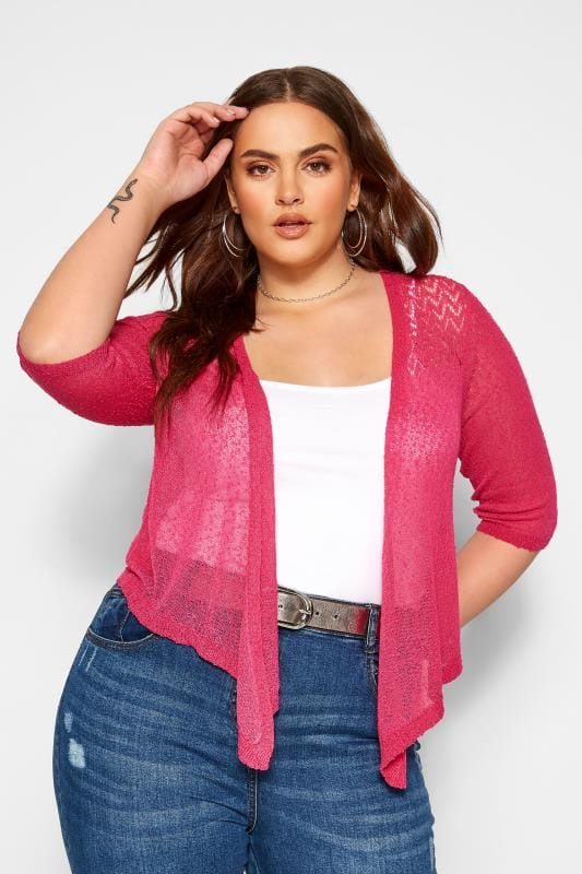 Plus Size Beauty Hot Pink Waterfall Fine Knit Shrug