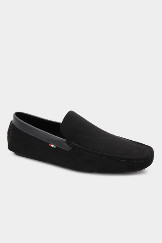 Plus Size Footwear D555 Black Faux Suede Slip On Moccasin
