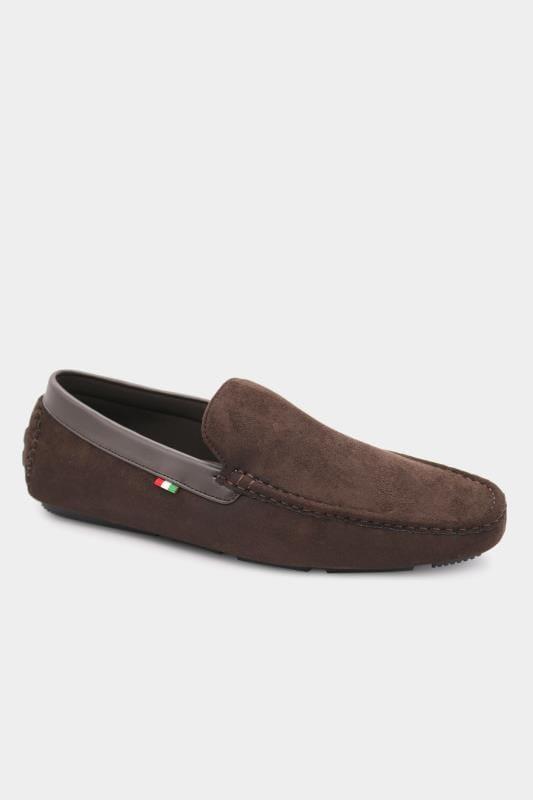 Plus Size Footwear D555 Brown Faux Suede Slip On Moccasin