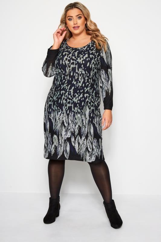IZABEL CURVE Grey Feather & Animal Print Shift Dress