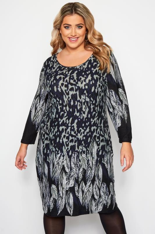 Большие размеры | Повседневные платья IZABEL CURVE Серое платье с анималистическим принтом и рисунком в виде перьев