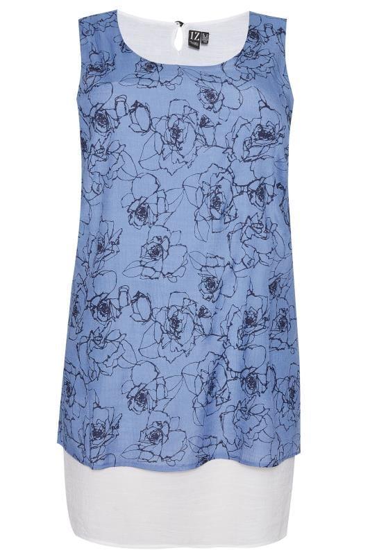 IZABEL CURVE Blue Layered Tunic Top