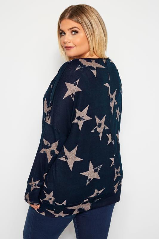 IZABEL CURVE Granatowa bluzka w beżowe gwiazdki