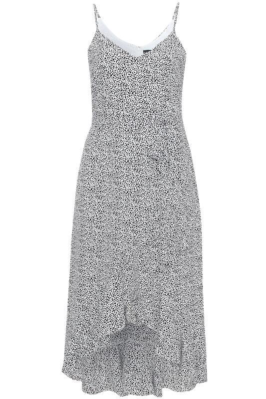 Plus Size Midi Dresses IZABEL CURVE White Dalmatian Print Frill Midi Dress