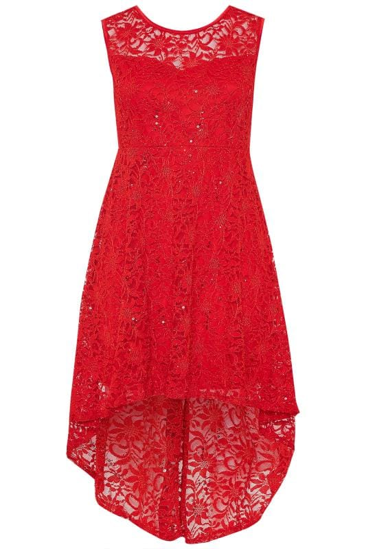 IZABEL CURVE Red Lace Sequin High Low Dress