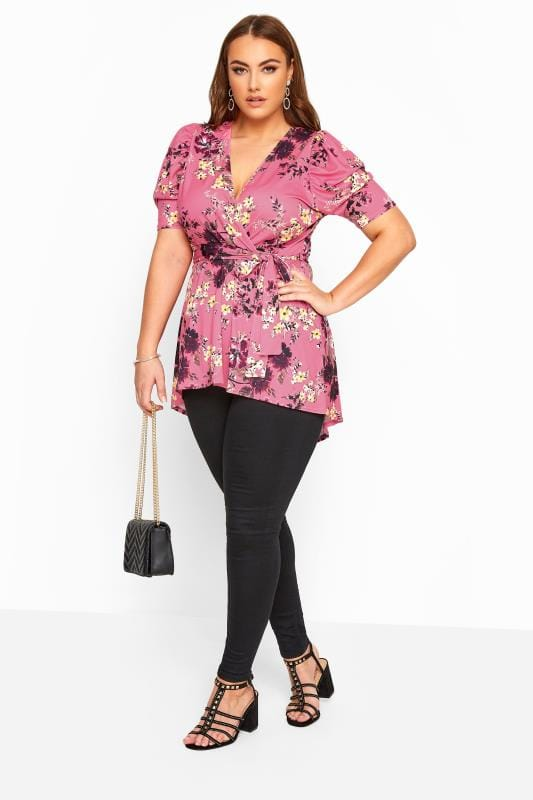 YOURS LONDON Pink Floral High Low Wrap Top