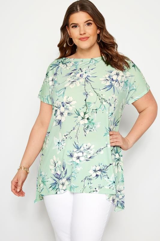 Plus Size Floral Tops Mint Green Floral Slinky Jersey Top
