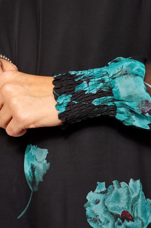 IZABEL CURVE Black & Blue Floral Chiffon Blouse