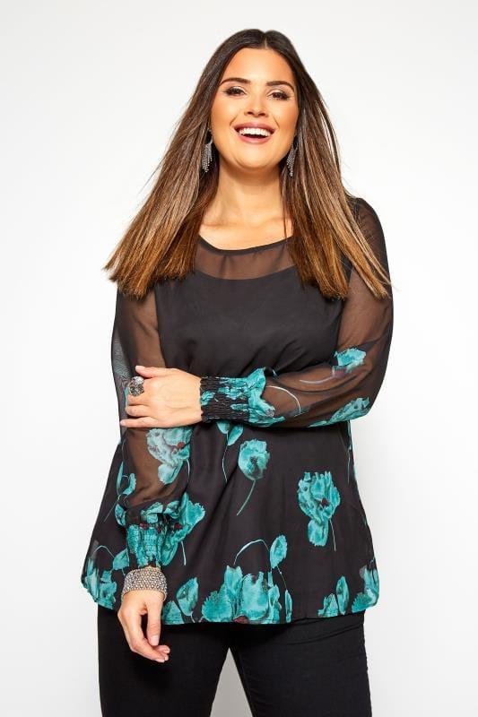 Plus Size Blouses & Shirts IZABEL CURVE Black & Blue Floral Chiffon Blouse