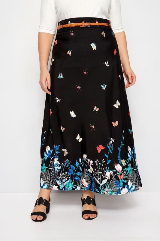IZABEL CURVE Black Butterfly Maxi Skirt