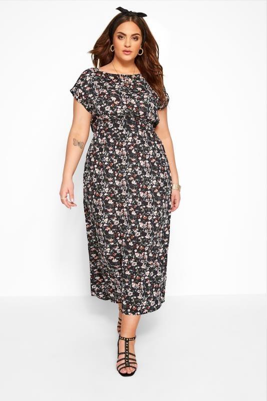 IZABEL CURVE Black Floral Belted Maxi Dress