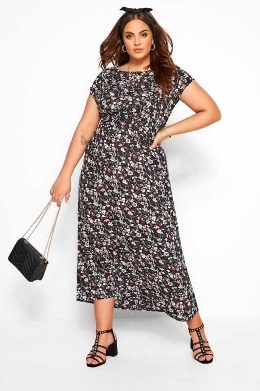 Plus Size Maxi Dresses IZABEL CURVE Black Floral Belted Maxi Dress
