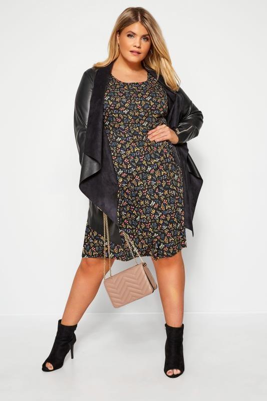 IZABEL CURVE Black Floral Belted Skater Dress