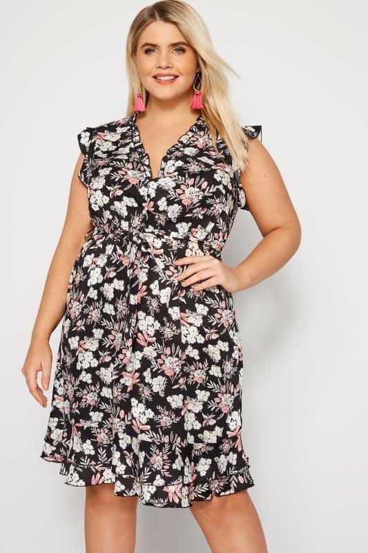 IZABEL CURVE Black Floral Frill Dress