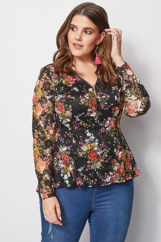 IZABEL CURVE Black Floral Lace Top