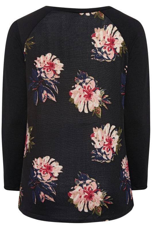 IZABEL CURVE Black Floral Print Knitted Top