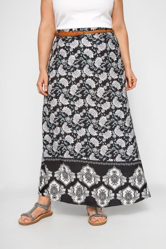 Plus Size Maxi Skirts IZABEL CURVE Black Floral Print Maxi Skirt